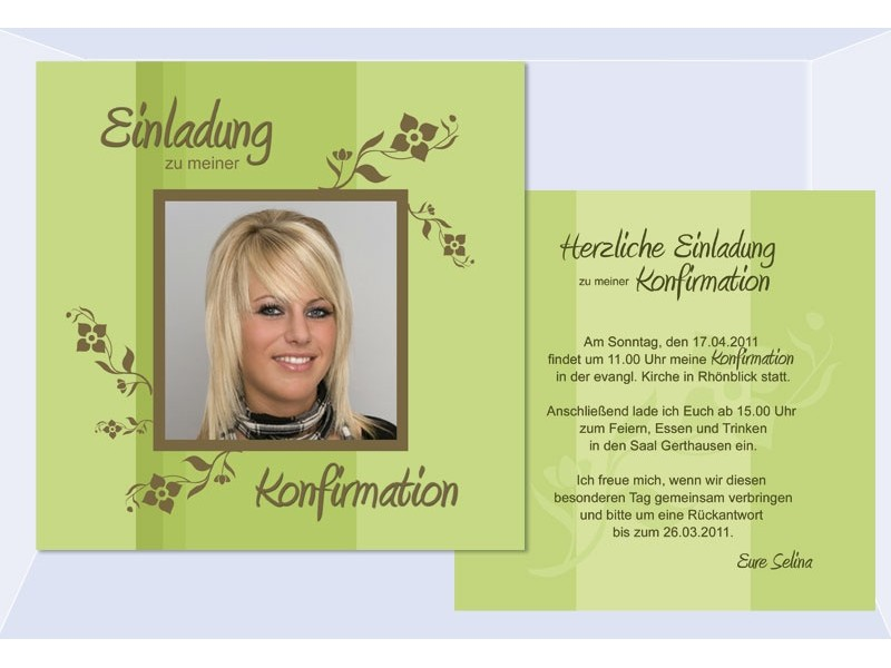 einladung kommunion / konfirmation, einladungskarten, grün, Einladung