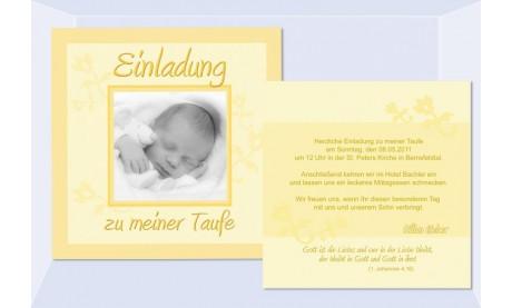 """Einladung Taufe """"Sonnenfrisch"""", Taufeinladung, Flachkarte 12,5 x 12,5 cm"""