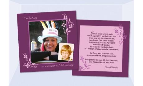 Einladung 40. Geburtstag, Flachkarte 12,5x12,5 cm, beere