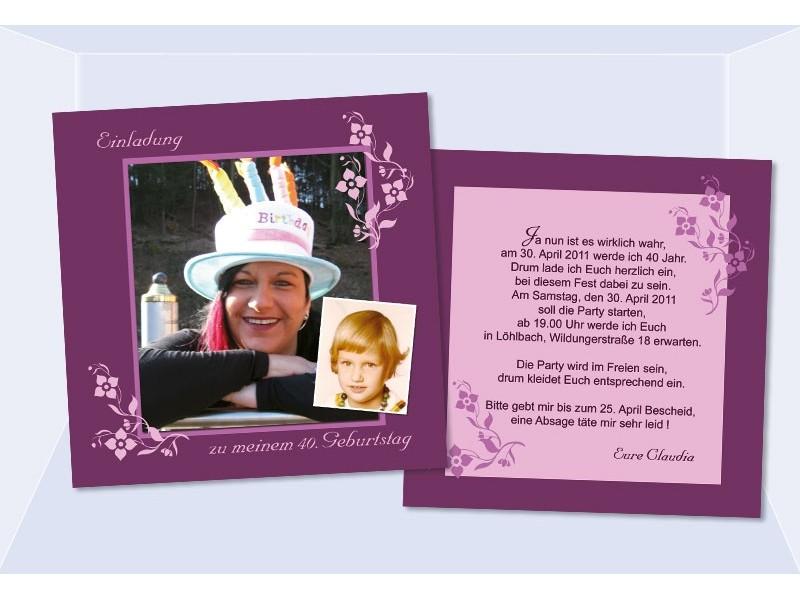 Einladung 35. Geburtstag, Flachkarte 12,5x12,5 cm, beere