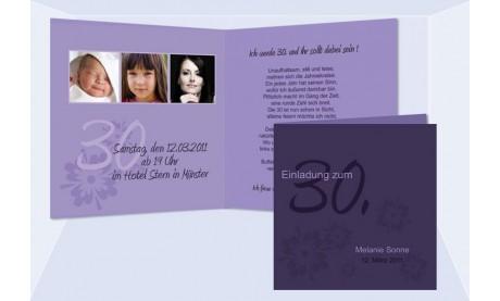 Einladung Geburtstag, Klappkarte 12,5x12,5 cm, lila
