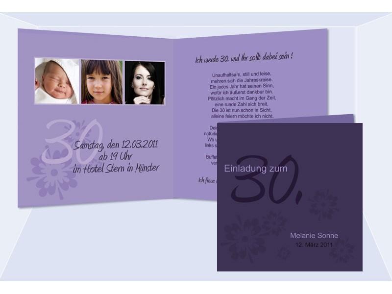 einladung 30. geburtstag, klappkarte 12,5x12,5 cm, lila, Einladung