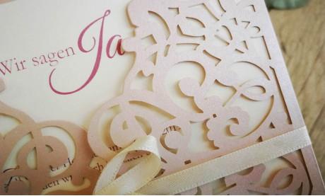 Rosa Lasercut Spitze, Einladungskarten Hochzeit Vintage Spitze rosa, blush pink