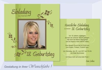 Einladung 18. Geburtstag, Geburtstagseinladung, Flachkarte, Grün,  Einladungsentwurf