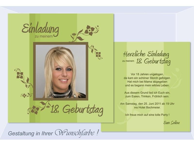 Einladung 18. Geburtstag, Geburtstagseinladung, Flachkarte, grün