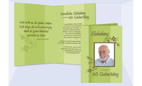 Einladung 60. Geburtstag, Klappkarte 10x15 cm, grün