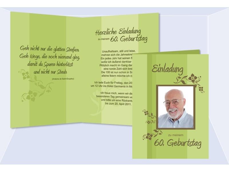 Einladung 60. Geburtstag, Fotokarte, Einladungskarten, grün