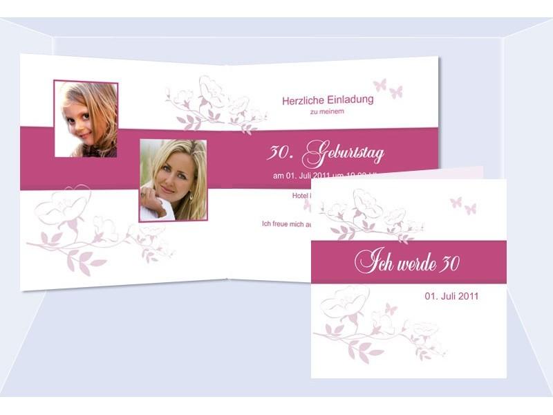 einladung 30. geburtstag, klappkarte, weiß pink, Einladung