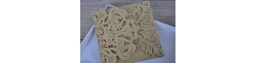 Einladungskarten Hochzeit gold weiß Laser cut