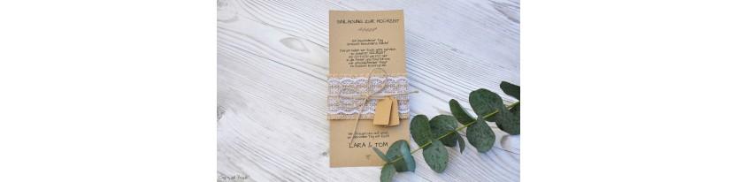 Vintage Einladungskarte Hochzeit Kraftpapier Spitze Sackleinen diy