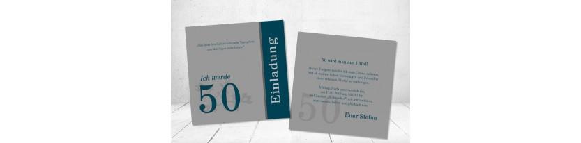 Einladungskarten Geburtstag ohne Foto 50 petrol