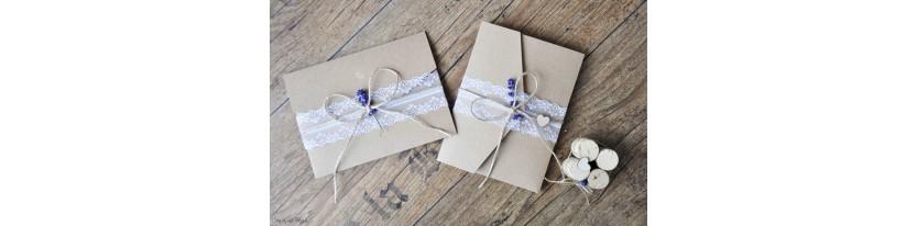 Hochzeitseinladungen Pocketfold Kraftpapier Spitze Einladungskarten Hochzeit Vintage diy