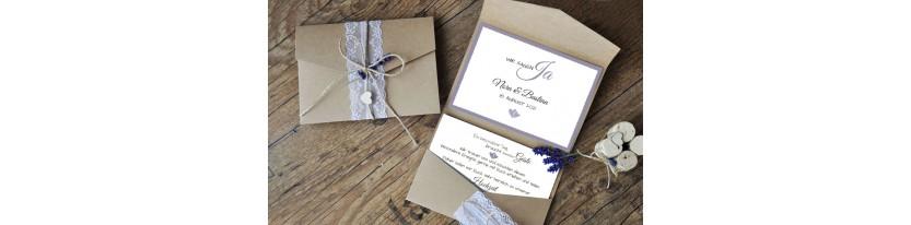 Hochzeitseinladungen Pocketfold Kraftpapier Spitze Vintage diy rosa