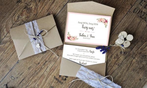 Hochzeitseinladungen Pocketfold Kraftpapier Spitze Vintage diy Blumen