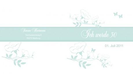 Einladung 30. Geburtstag, Klappkarte 12,5x12,5 cm, weiß