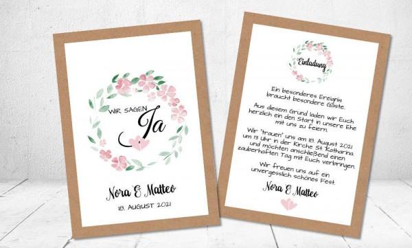 Hochzeitseinladung Blumenkranz Vintage Kraftpapier