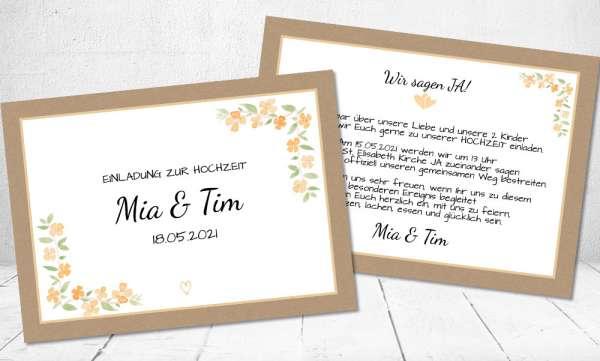 Einladungskarten Hochzeit creme apricot