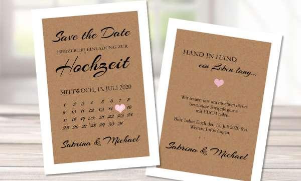 Save the Date Karten Hochzeit Kalender