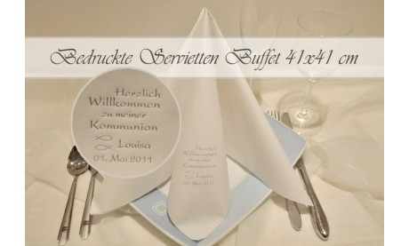 Servietten Buffet, 41x41 cm, individuell bedruckt mit Ihrem Wunschtext