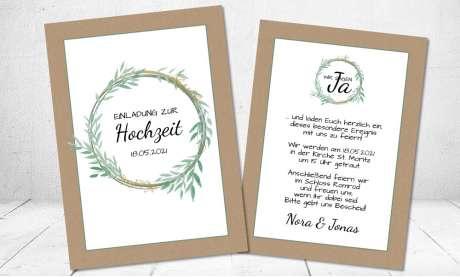 Hochzeitseinladung Kraftpapier gold grün
