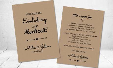 Einladung Hochzeit Kraftpapier