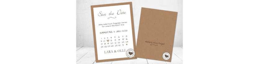 Save the Date Karten Hochzeit Kalenderblatt