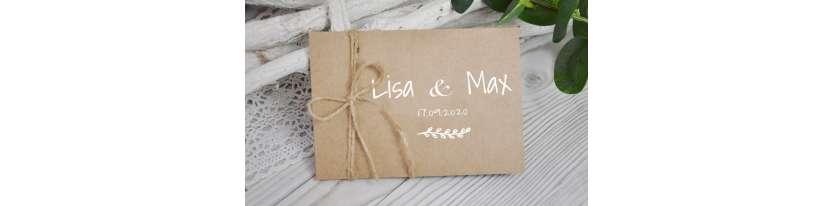 Einladungskarten Hochzeit rustikal Vintage Kraftpapier