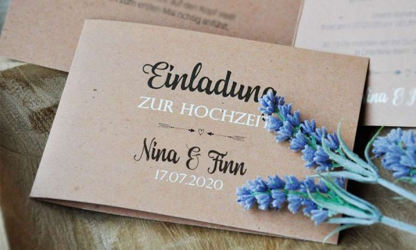 Einladungskarte Hochzeit Kraftpapier
