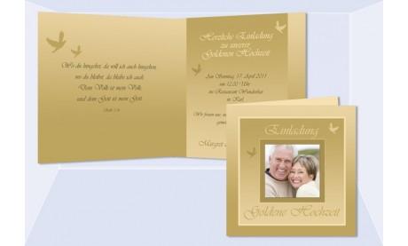 """Einladungskarte Goldene Hochzeit """"Goldglanz"""", Klappkarte Quadrat, gold"""