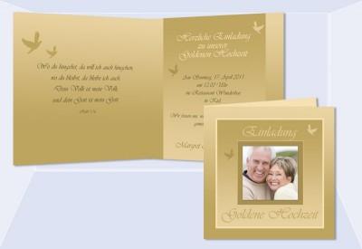 Hochzeitskarte, Hochzeitseinladung, Einladung Goldene Hochzeit, Einladung