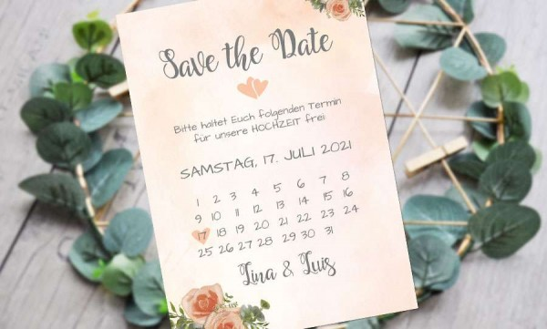 Save the Date Karten Hochzeit aquarell apricot