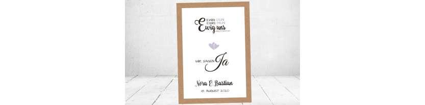 Einladung Hochzeit Ja Vintage Kraftpapier weiß flieder