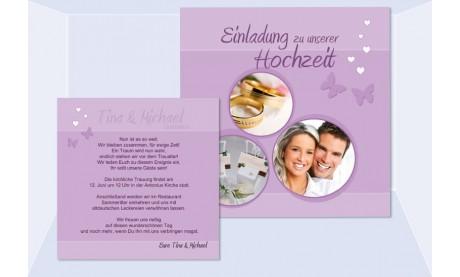 """Einladungskarte Hochzeit """"Schmetterling"""", Flachkarte 12,5x12,5 cm, flieder"""