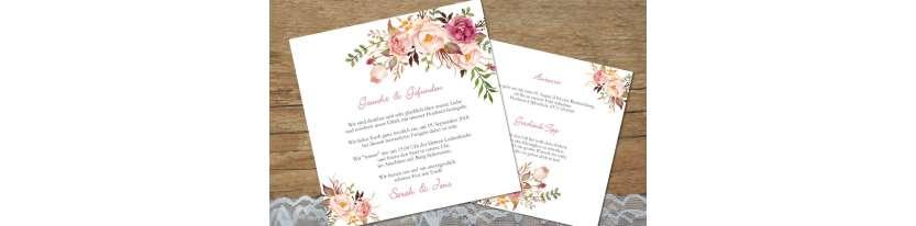 Einladungskarten Hochzeit Blumen, floral