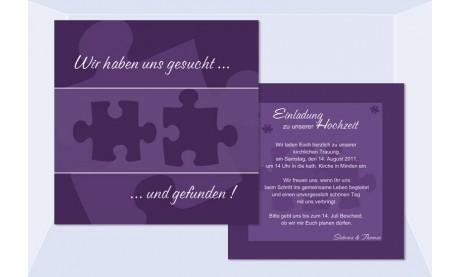 """Einladungskarte Hochzeit """"Puzzle"""", Flachkarte 12,5x12,5 cm, lila"""