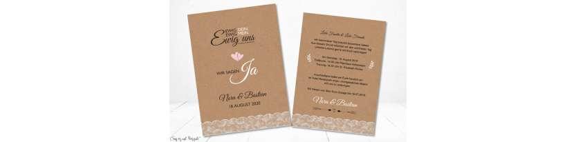 Einladung Hochzeit Ja Vintage Kraftpapier weiß rosa Spitze