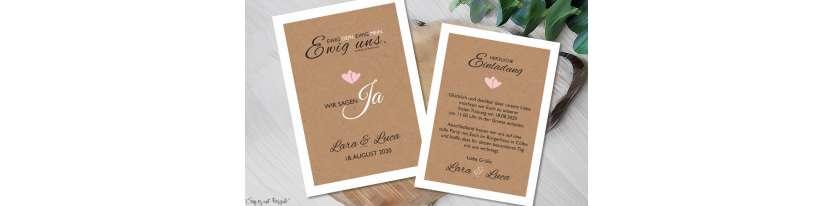 Einladung Hochzeit Ja Vintage Kraftpapier weiß rosa
