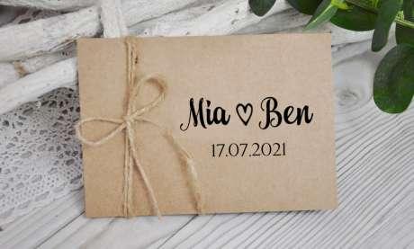 Einladungskarten Hochzeit natur Kraftpapier vintage