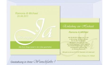 """Einladungskarte Hochzeit """"Wir sagen Ja"""", Flachkarte 12,5x12,5 cm, grün"""