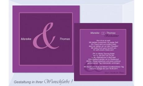 """Einladungskarte Hochzeit """"Quadratisch schlicht"""", Flachkarte 12,5x12,5 cm, beere"""