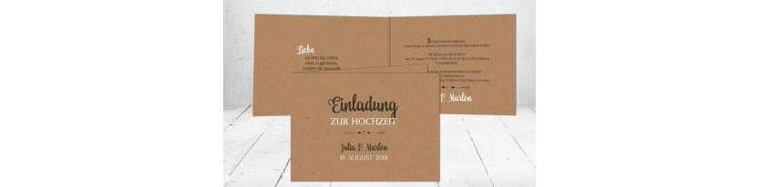 Hochzeitseinladung Kraftpapier diy