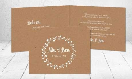 Hochzeitseinladung Kraftpapier Blumen