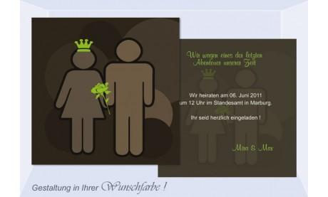 """Einladungskarte Hochzeit """"Rose"""", Flachkarte 12,5x12,5 cm"""