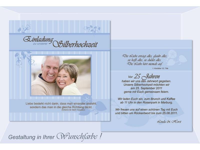 Einladungskarte Silberne Hochzeit, Flachkarte 12,5x12,5 Cm, Hellblau.  Ausdrucken; Vergrößern. Hochzeitseinladung