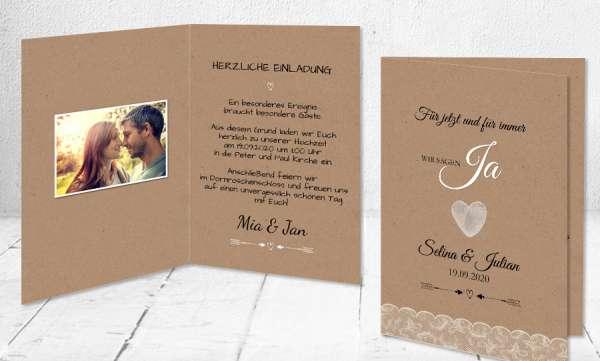 Hochzeitseinladung Kraftpapier Spitze