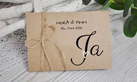Hochzeitseinladung Jute Kraftpapier