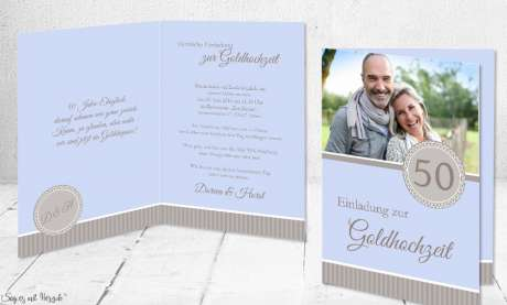 Einladungskarten Goldhochzeit, Silberne Hochzeit mit Foto