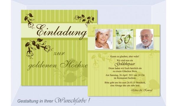 Einladungskarte Goldene Hochzeit, Flachkarte 12,5x12,5 cm, grün