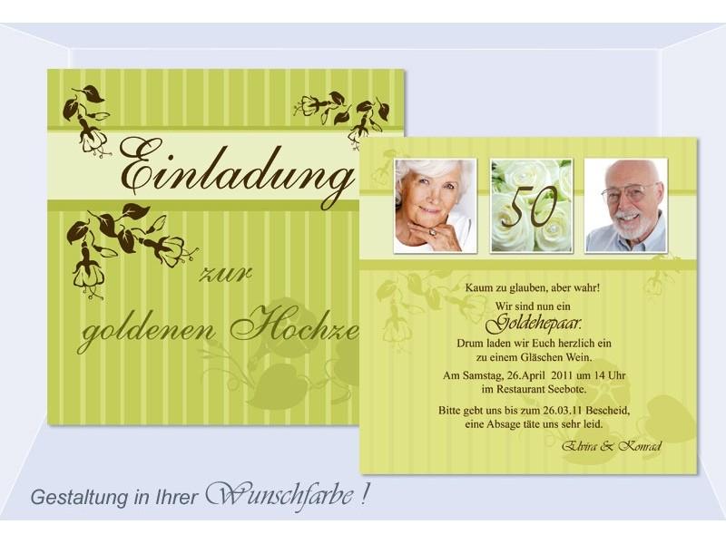 Einladungen goldene silberne Hochzeit, Einladungskarten, Hochzeitskarte, grün