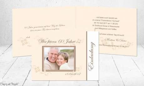 Einladungskarten Goldene Hochzeit edel